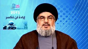 Hezbollah leader Hassan Nasrallah, speaking on 25 May (handout photo from Syrian news agency Sana)