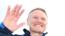 Joe Schmidt celebrates his fourth Leinster trophy as his three seasons at the club comes to an end
