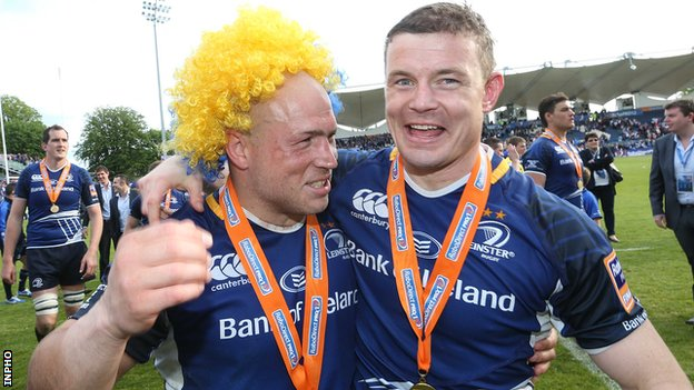 Brian O'Driscoll and Richardt Strauss celebrate after Leinster's Pro12 final victory