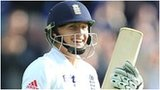 Joe Root celebrates his maiden Test century