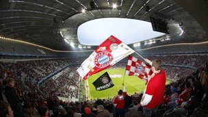 Bayern fans inside Wembley stadium