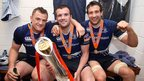 Jamie Heaslip, Shane Jennings and Kevin McLaughlin with the Pro12 trophy in the Leinster dressing room