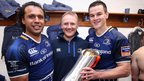 Isa Nacewa, Josef Schmidt and Jonathan Sexton celebrate victory after their final match with Leinster