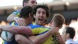 Warrington celebrate Chris Riley's opening try