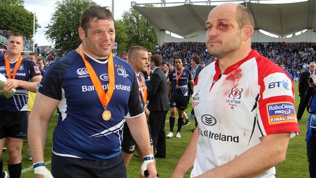 Rory Best shows the wounds of battle after the Pro12 final as his Ireland team-mate Mike Ross approaches him