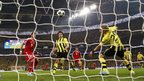 Mario Mandzukic (left) scores for Bayern Munich