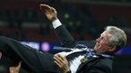 Jupp Heynckes thrown in the air by the Bayern Munich players