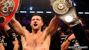 Carl Froch with belts