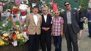 A group of men from the Pakistan Community Centre in Willesden show solidarity with family of Lee Rigby