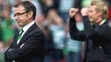Hibs manager Pat Fenlon and assistant Celtic boss Johan Mjallby
