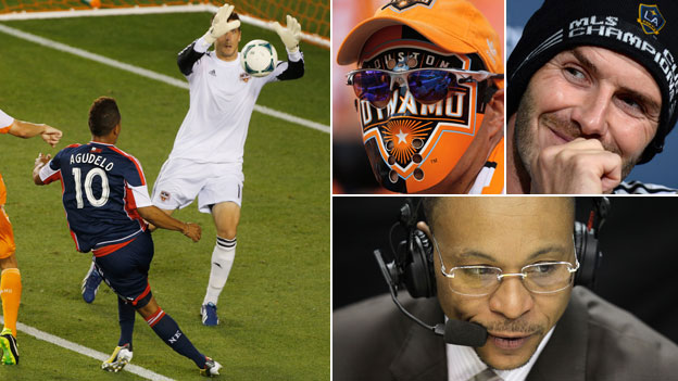 Action from the MLS, a fan, David Beckham and Gus Johnson