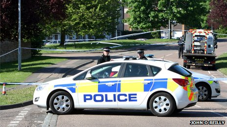 police were called to the scene of the stabbing in Thrales Close, Marsh Farm, on Sunday night.
