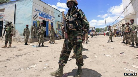 AU peacekeepers in the town of Beledweyne in Somalia (9 May 2013)