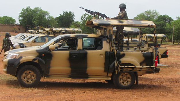 Soldiers and military vehicles in Yola, Adamawa state, Nigeria