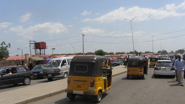 A street in Yola pre-curfew, Adamawa state, Nigeria