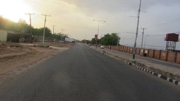 A Yola street pictured just after curfew, Adamawa state, Nigeria