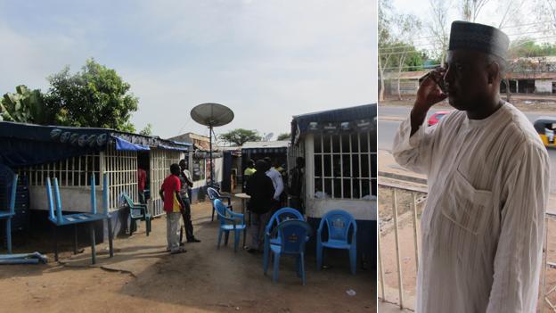 L: Bars in Yola. R: Abdurrazak Namdas, a politician in Adamawa state, Nigeria