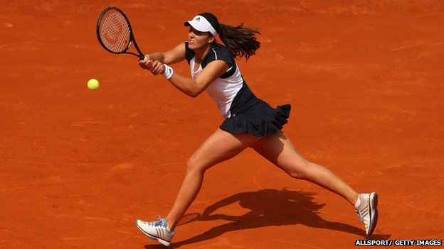 Laura Robson playing in the first round of the French Open
