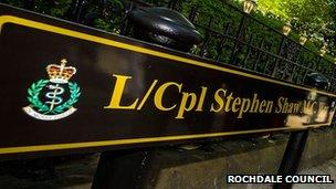 L/Cpl Stephen Shaw MC Way sign