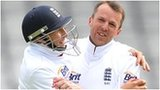 England spinner Graeme Swann (right) celebrates another wicket