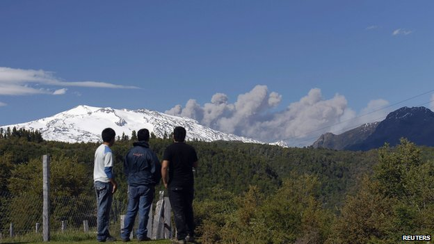 Smoke and ash rising from the Copahue volcano in Chile