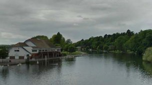Reading Rowing Clubhouse from Caversham Bridge