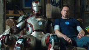 Robert Downey Jr and friend in Iron Man 3
