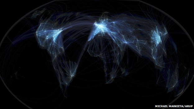 Global flights Earth. Michael Markieta/Arup.