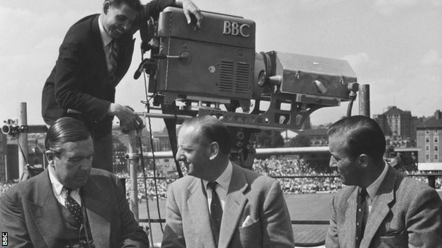 Commentators E.W. Swanton, Brian Johnston and Peter West