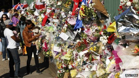 Flowers left as a tribute to murdered soldier Lee Rigby in Woolwich