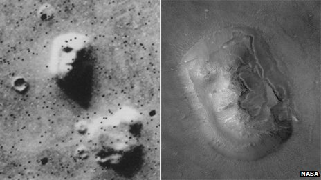 Face on Mars, photographed in 1976 (left), and a more recent hi-res image
