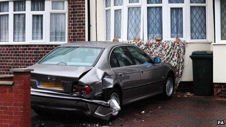 Car damages house