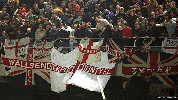England fans during rioting at Lansdowne Road in 1995