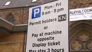 A permit parking sign