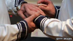 Gay couple exchanging rings