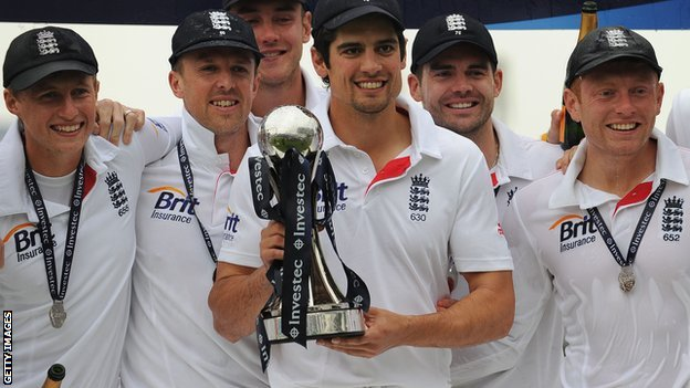 England with the Test series trophy