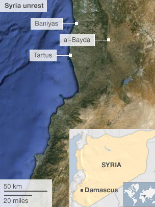 Map showing location of Syria massacre