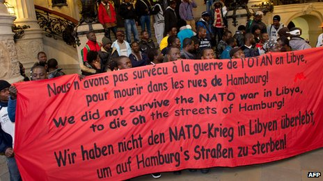 African refugees in Hamburg, 22 May 13