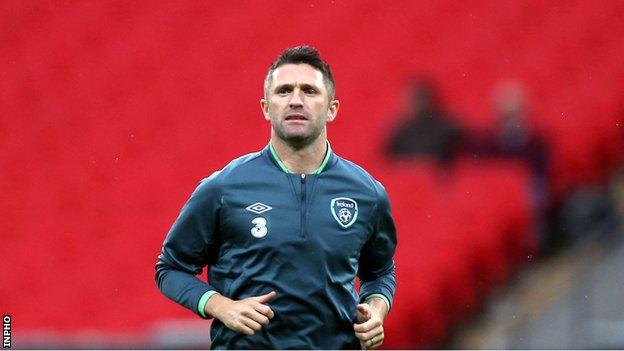 Robbie Keane training at Wembley on Tuesday