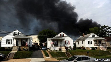 Smoke billows from a train derailment that caused a major explosion in the Rosedale neighbourhood 28 May  2013