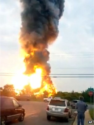 This still taken from video provided by James LeBrun shows an explosion outside Baltimore on 28 May 2013