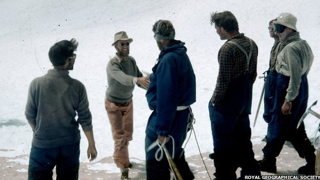 James, now Jan, Morris congratulates Edmund Hillary after the ascent in 1953