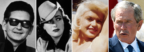 Composite image showing, from left: Roy Orbison, Joan Crawford, Jayne Mansfield and George W Bush