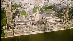 Ariel view of the Palace of Westminster