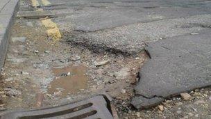 Pothole in Leeds street
