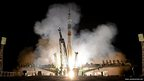 Russia's Soyuz TMA-09M spacecraft blasts off from the Russian leased Kazakh Baikonur cosmodrome