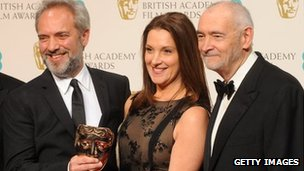 Sam Mendes at the 2013 Bafta Film Awards with Bond producers Michael G Wilson and Barbara Broccoli