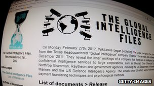 Screenshot of Wikileaks Stratfor page