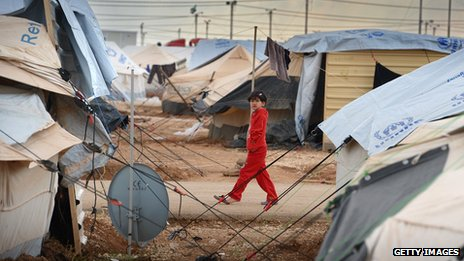 Syrian refugee camp at Zaatari, Jordan, pictured in January 2013