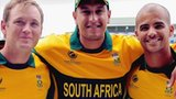 South Africa's Colin Ingram, Rory Klenveldt and JP Duminy in their new Champions Trophy shirts